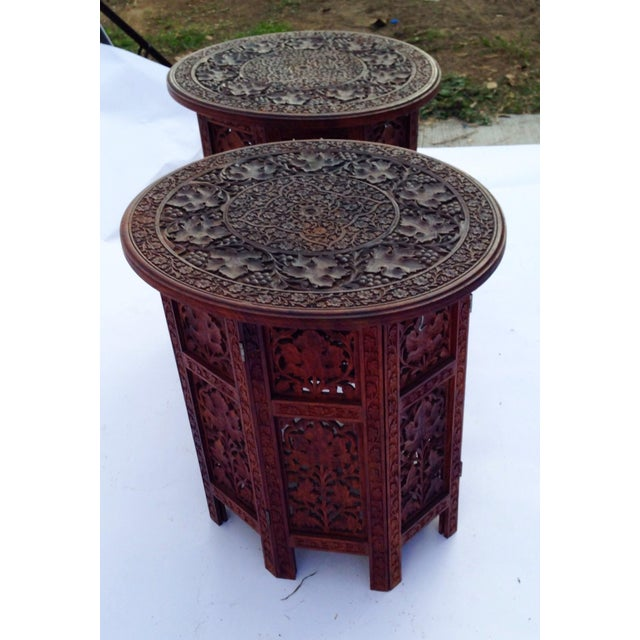 Anglo-Indian Rosewood Elaborately Carved Tables - Pair For Sale - Image 5 of 6