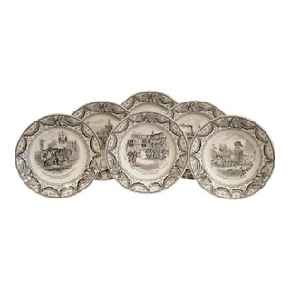 Set of Six, 19th Century French Napoleon III Black and White Hand-Painted Plates