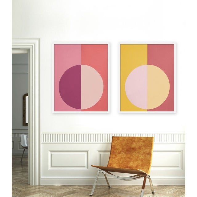 "Set of 2 giclée prints on textured fine art paper with white frames. Set of 2 measures 25"" x 62""; individual framed print..."