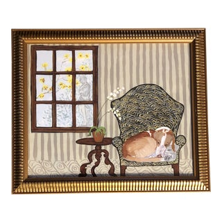 """Contemporary Dog Print """"Winter Hound"""" by Judy Henn For Sale"""