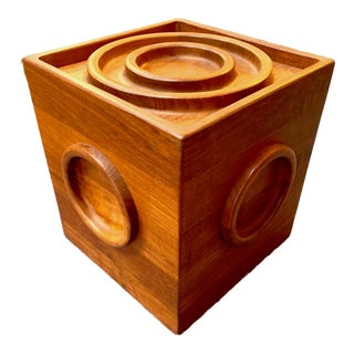 Dansk Teak Cube Ice Bucket For Sale