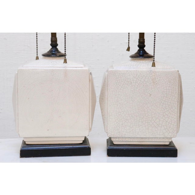 Petite Antique Craquelure Lamps, a Pair For Sale - Image 4 of 8