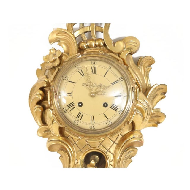 Aesthetic Movement Small Rococo Style Gold Birch Wall Clock For Sale - Image 3 of 5