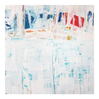 Spinnakers Watery Abstract Painting of Sailing White Blue Red Large Square