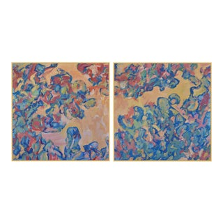Abstract Oil Diptych by George Brinner, The Garden Pool For Sale