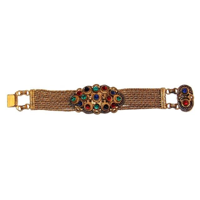 1930 Czech Jewel Toned Glass Cabochon Multi Chain Bracelet For Sale - Image 4 of 6