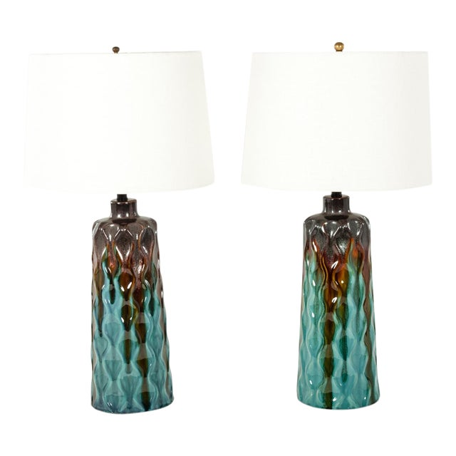 Pair of Mid 20th Century Glazed Ceramic Table Lamps For Sale