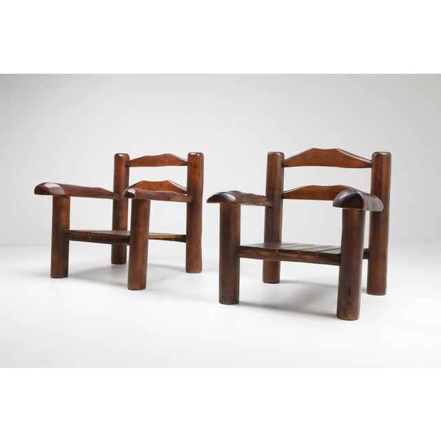 Rustic 1950s Rustic Wooden Wabi Sabi Lounge Chairs For Sale - Image 3 of 11