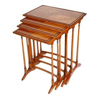 Late 19th Century English Quartetto Satinwood Nesting Tables - Set of 4 For Sale