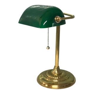 1900s Mid-Century Modern Shelburne Green and Brass Desk Lamp