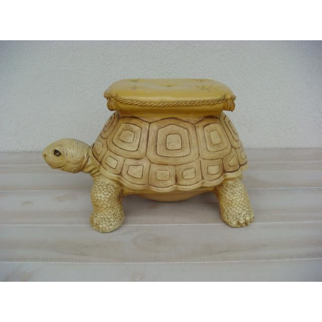 Italian Mid-Century Turtle Form Garden Stool Bench Ottoman For Sale - Image 3 of 13