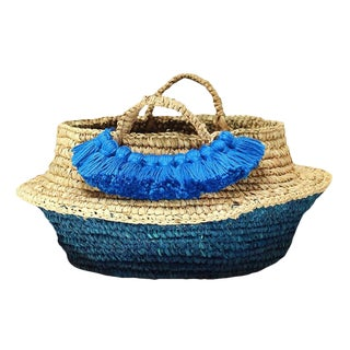 Raffia Belly Basket With Blue Roman Tassels