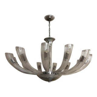 Art Deco Style Italian Glass Chandelier- Round Chandelier For Sale