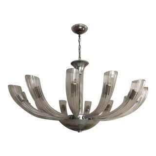 Art Deco Style Italian Glass Chandelier- Unique Round Table For Sale
