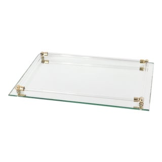 Vintage 1960s Mid-Century Modern Brass Lucite Mirrored Vanity Bar Tray For Sale