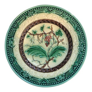 Majolica Floral Plate For Sale