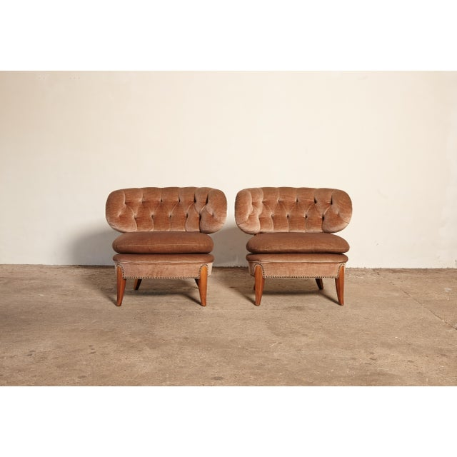 Pair of Otto Schulz 'Schultz' Easy Chairs, Sweden, 1940s-1950s For Sale - Image 10 of 11