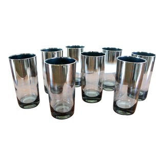 Dorothy Thorpe Style Silver Highball Cocktail Glasses - Set of 8 For Sale