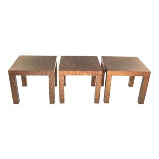 Milo Baughman for Thayer Coggin Burlwood Tables - Set of 3 For Sale