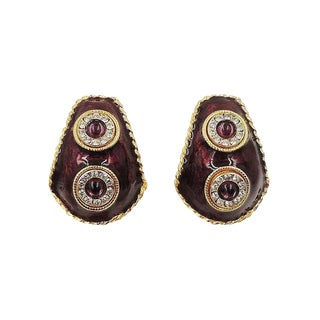 Yosca Enameled Cabochon Earrings For Sale