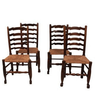 19th Century Country Oak Lancashire Side Chairs - Set of 4 For Sale