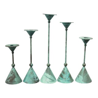 Candle Holders With Verdigris Patina - 5 Pieces For Sale