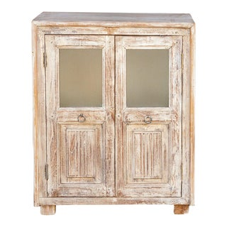 Vintage Colonial White Wash Cabinet For Sale