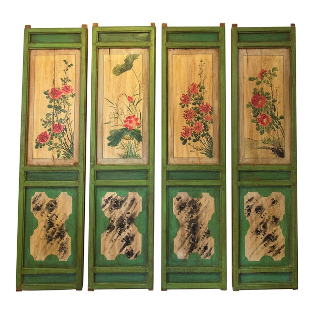 Chinese Painted Door Panels - 4 Pieces For Sale