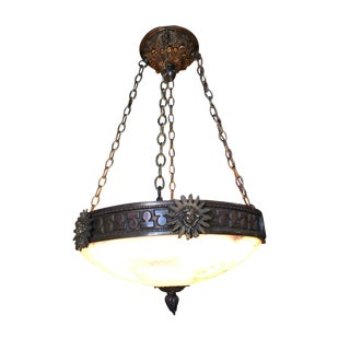 "Bronze Federal Style ""Liberty"" Alabaster Dome Chandelier For Sale"