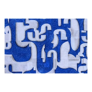"""Contemporary Abstract Blue & White Painting """"PDP680ct14"""" by Cecil Touchon For Sale"""