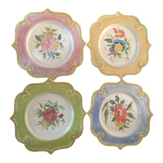 Hand Painted Floral Decorative Plates - Set of 4 For Sale