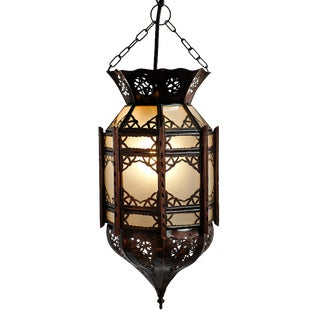 Small Moroccan Tin Frosted Lantern For Sale