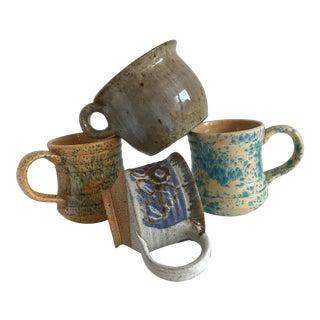 Vintage Boho Handmade Pottery Cups - Set of 4