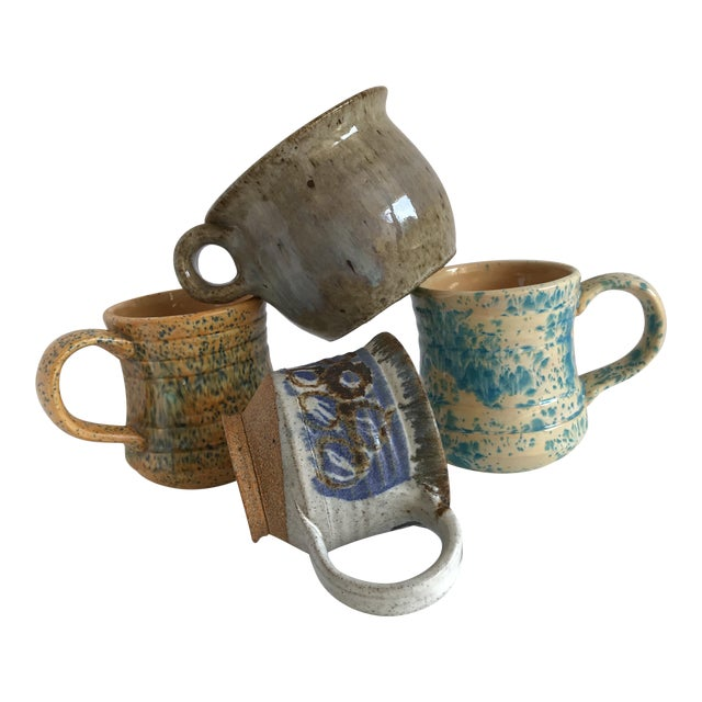 Vintage Boho Handmade Pottery Cups - Set of 4 For Sale