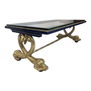 Neoclassical Style Carved Wood Dolphin Coffee Table