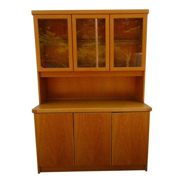 Teak Lighted Hutch or Cabinet by Christian Linneberg -Denmark For Sale