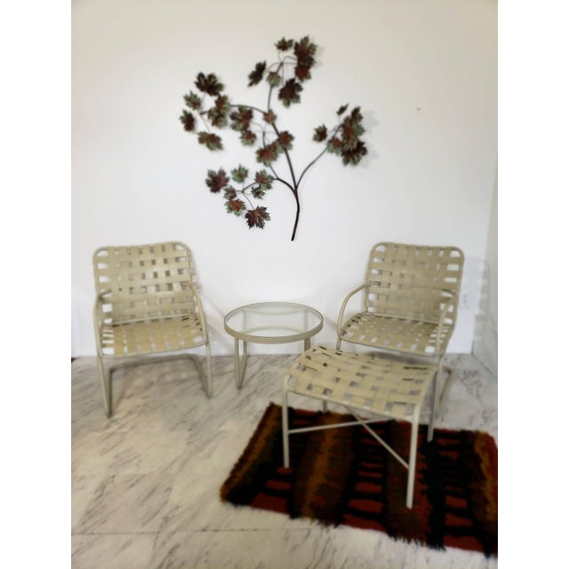 Brown Jordan Mid-Century Modern Brown Jordan Patio Set Pair Bouncy Chair Ottoman Side Table For Sale - Image 4 of 8