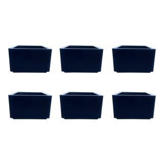 Six Vintage Contemporary Blue Indoor/Outdoor Fiberglass Planters For Sale