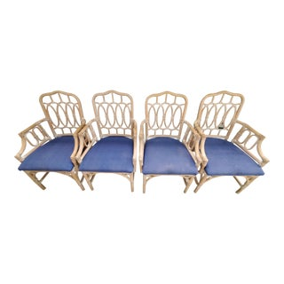Lexington Loop-Back Rattan Chairs in Whitewash - Set of 4 For Sale
