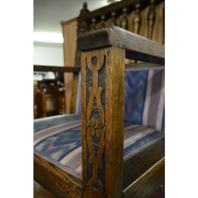 Antique Wind Man Carved Oak Library Armchair - Image 8 of 11