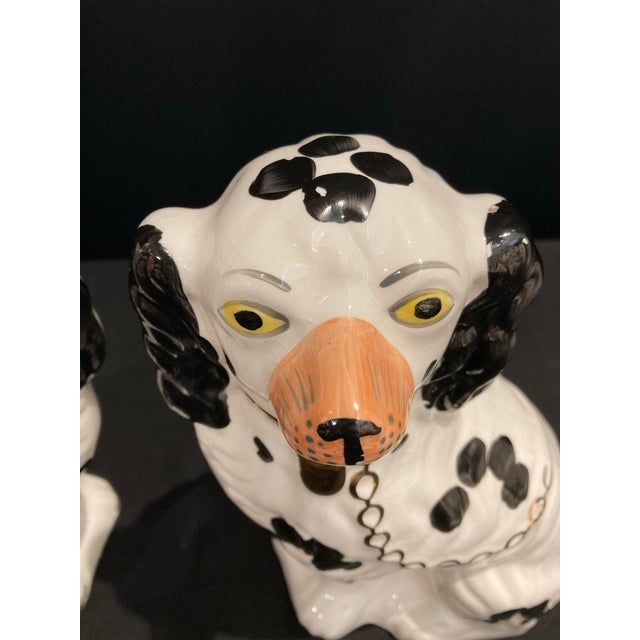 Vintage Early 20th Century English Staffordshire Black and White Dog Figurines - a Pair For Sale - Image 11 of 13