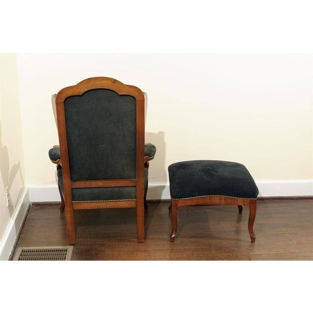 Antique Italian Wing Chair and Ottoman - Image 6 of 8