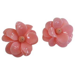 Lucite Flower Petal Statement Earrings