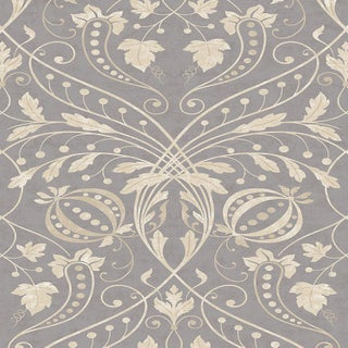 "Lewis & Wood Chateau Gold Mink Extra Wide 52"" Damask Wallpaper Sample For Sale"