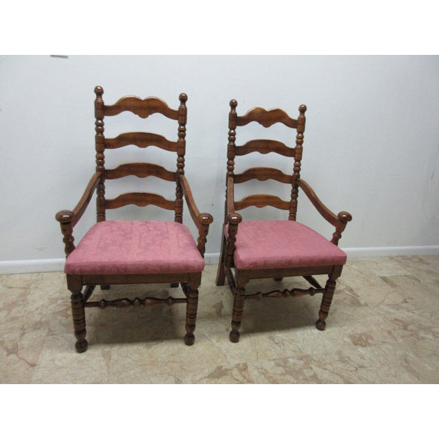 Link Taylor Country Pine Ladder Back Dining Chairs - A Pair For Sale - Image 10 of 10