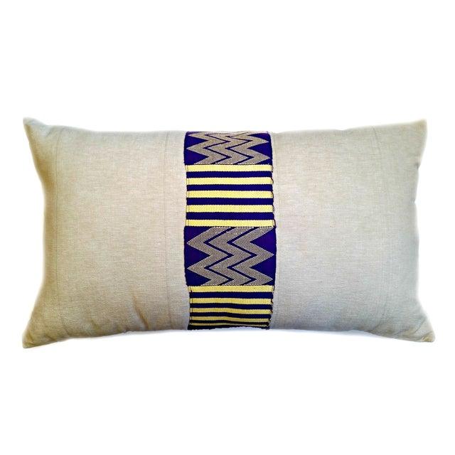 Vintage Linen African Kente Cloth Lumbar Pillow - Image 1 of 5