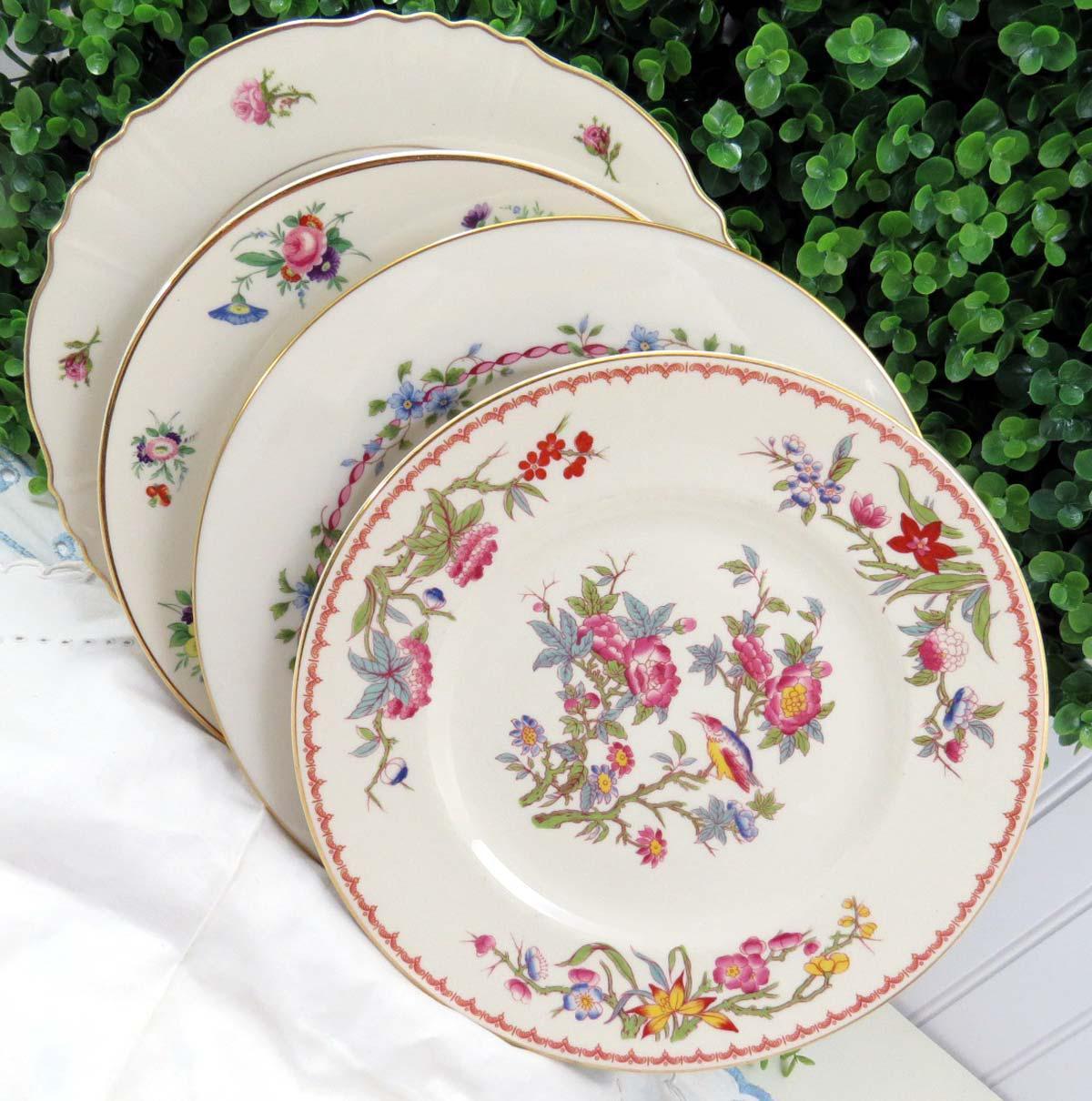 Vintage Mismatched Fine China Dinner Plates - Set of 4 - Image 7 of 7 & Vintage Mismatched Fine China Dinner Plates - Set of 4 | Chairish