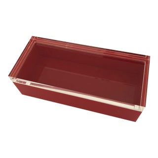 Alessandro Albrizzi Signed Mid-Century Red & Clear Lucite Box For Sale