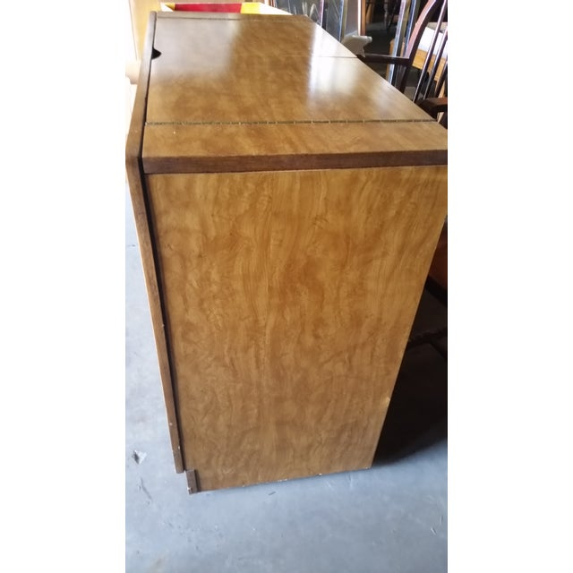 Mid-Century Modern Credenza Flip Top Burl Style For Sale - Image 4 of 10
