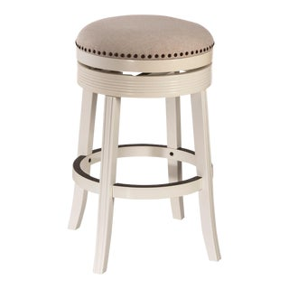 White Upholstered Swivel Barstool For Sale